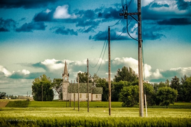 A Word A Week Photo Challenge - Bisect (Church with Electric Poles)