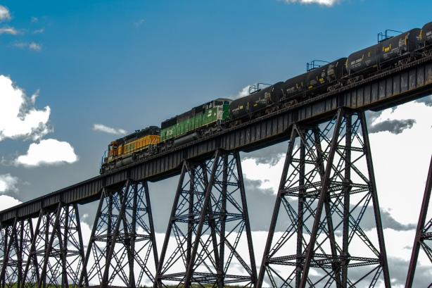 Train Moves On To Trestle Bridge
