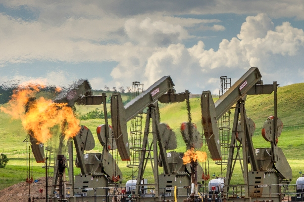 Burning off natural gas at an oil well 1